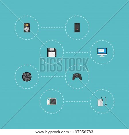 Flat Icons Controller, Diskette, Display And Other Vector Elements
