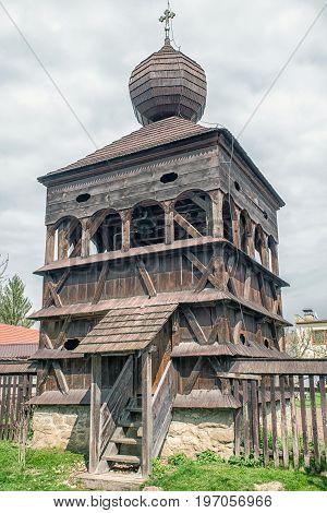Wooden belfry from articular wooden church in village Hronsek Slovakia