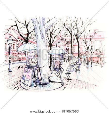 Winter square Place du Tertre on Montmartre, Paris, France. Picture made markers