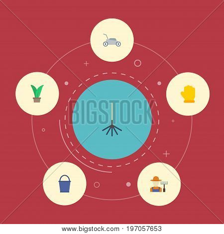 Flat Icons Lawn Mower, Grower, Plant And Other Vector Elements