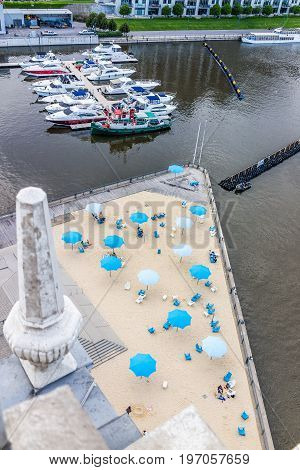 Montreal, Canada - May 27, 2017: Aerial View Of Old Port Area With Sandy Beach, Umbrellas And Boats