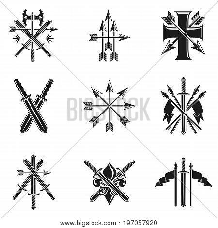 Vintage Weapon Emblems set. Vintage vector design elements collection. Retro style label heraldry.