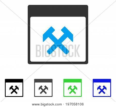 Hammers Calendar Page flat vector pictograph. Colored hammers calendar page gray, black, blue, green pictogram variants. Flat icon style for application design.