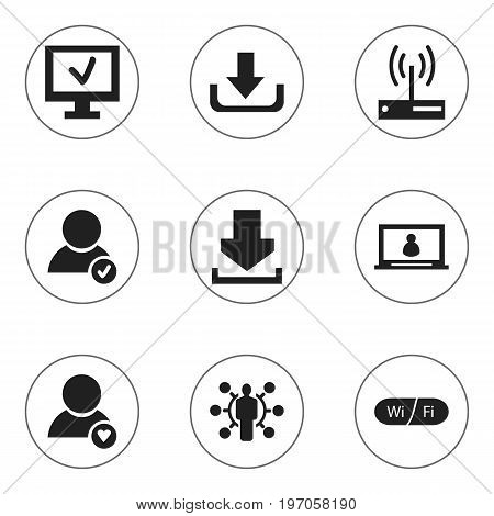 Set Of 9 Editable Global Icons. Includes Symbols Such As Lovely Profile, Download, Approve User And More