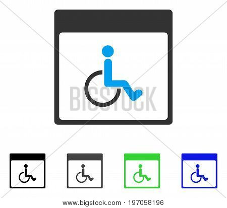 Handicapped Calendar Page flat vector pictogram. Colored handicapped calendar page gray, black, blue, green pictogram versions. Flat icon style for web design.