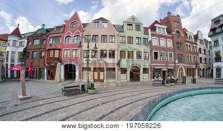 KOMARNO SLOVAKIA - APRIL 16: Europa place (square) in centre of city on April 16 2017 in Komarno