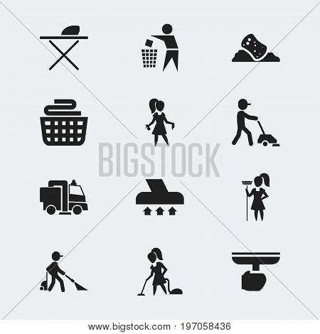 Set Of 12 Editable Cleanup Icons. Includes Symbols Such As Garbage, Squeegee, Chores And More