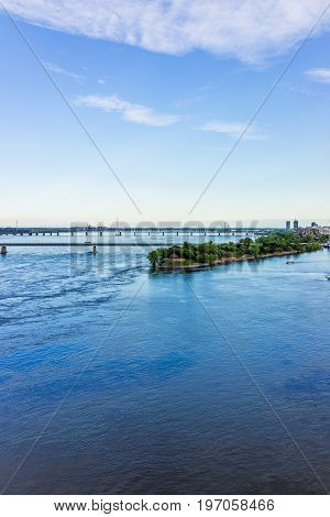 Montreal, Canada - May 27, 2017: Aerial View Of Old Port Area With Champlain And Victoria Bridges In
