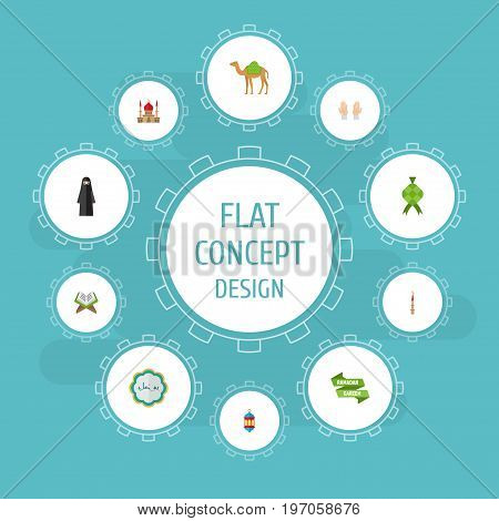 Flat Icons Islamic Lamp, Dromedary, Muslim Woman And Other Vector Elements