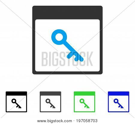 Key Calendar Page flat vector pictogram. Colored key calendar page gray, black, blue, green icon variants. Flat icon style for graphic design.