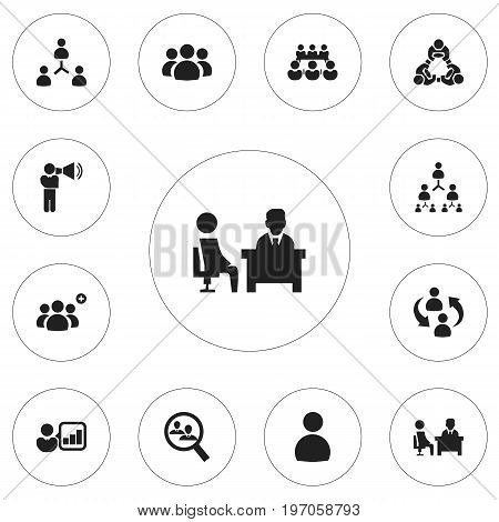 Set Of 12 Editable Community Icons. Includes Symbols Such As Introducing, Friendship, Staff Structure And More