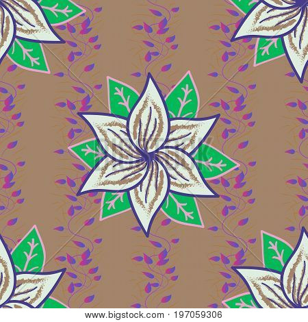 Tribal art boho print vintage flower background. Background texture sketch floral theme in colors. Abstract ethnic vector seamless pattern.
