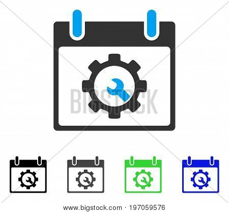 Options Tools Calendar Day flat vector pictograph. Colored options tools calendar day gray, black, blue, green icon versions. Flat icon style for graphic design.