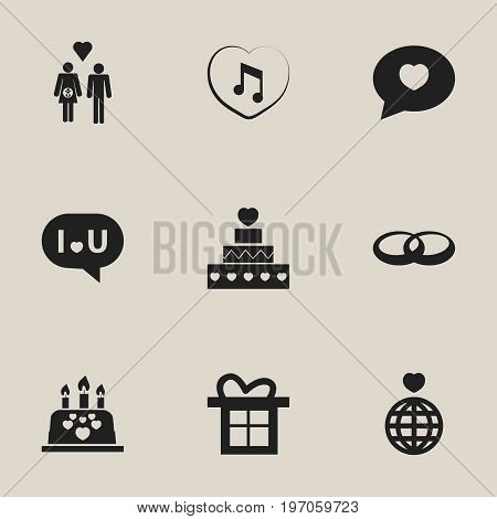 Set Of 9 Editable Amour Icons. Includes Symbols Such As Family, Confession, Music And More