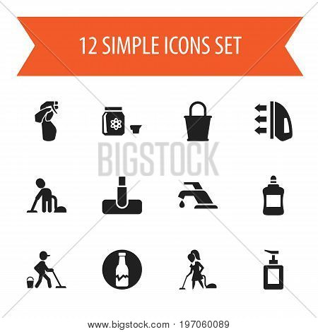 Set Of 12 Editable Hygiene Icons. Includes Symbols Such As Pail, Floor Dusting, Faucet And More