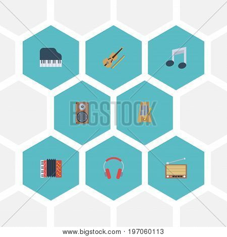Flat Icons Tone Symbol, Audio Box, Radio And Other Vector Elements