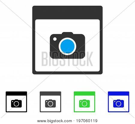 Photo Camera Calendar Page flat vector pictogram. Colored photo camera calendar page gray, black, blue, green icon versions. Flat icon style for application design.