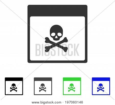 Poison Skull Calendar Page flat vector icon. Colored poison skull calendar page gray, black, blue, green pictogram variants. Flat icon style for graphic design.