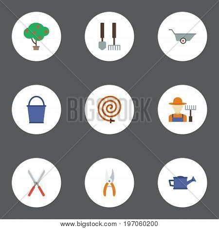 Flat Icons Grower, Tools, Pruner And Other Vector Elements