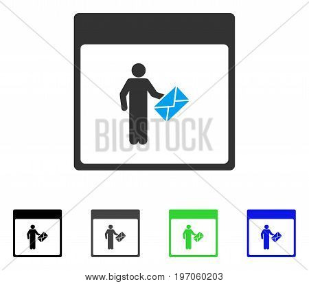 Postman Calendar Page flat vector pictogram. Colored postman calendar page gray, black, blue, green icon versions. Flat icon style for application design.