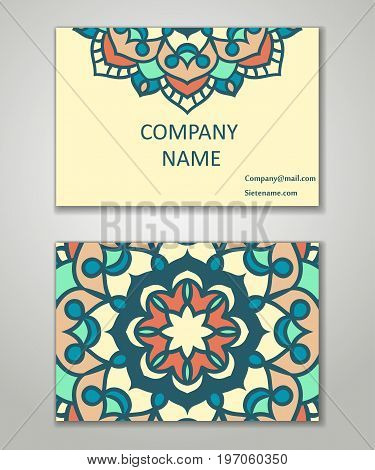 Vector vintage business card set. Beauty designs. Floral mandala pattern and ornaments. Front page and back page.Vector vintage business card set.