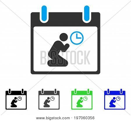 Pray Time Calendar Day flat vector pictograph. Colored pray time calendar day gray, black, blue, green icon variants. Flat icon style for web design.