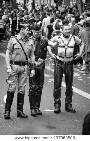 BERLIN GERMANY - JUNE 27 2015: Christopher Street Day. The annual European LGBT celebration and demonstration held in Berlin for the rights of LGBT people and against discrimination and exclusion.