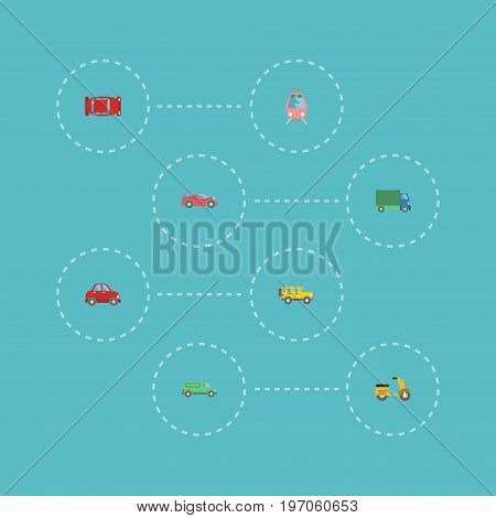 Flat Icons Jeep, Automotive, Lorry And Other Vector Elements