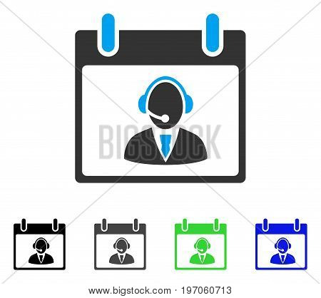 Reception Operator Calendar Day flat vector pictogram. Colored reception operator calendar day gray, black, blue, green icon variants. Flat icon style for web design.