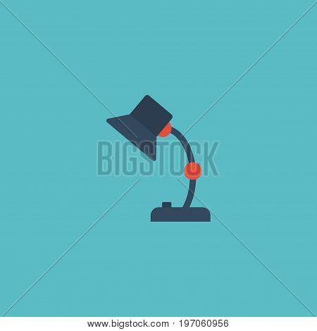 Flat Icon Table Lamp Element. Vector Illustration Of Flat Icon Illuminator Isolated On Clean Background
