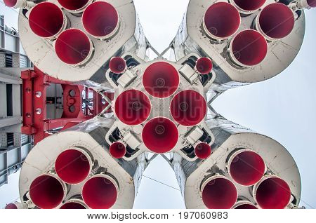 Moscow - May 5, 2017: A Bottom View At The Model Of The Soviet Spaceship Vostok
