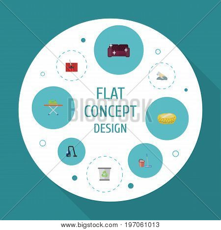 Flat Icons Housekeeping, Carpet Vacuuming, Towel And Other Vector Elements