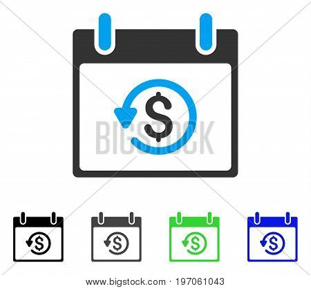 Refund Calendar Day flat vector pictogram. Colored refund calendar day gray, black, blue, green icon versions. Flat icon style for application design.