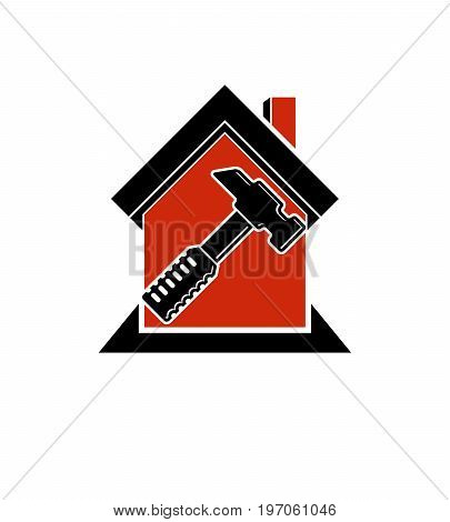 Classic mallet vector icon industrial utensil. Simple house with work tools workshop. Home reconstruction idea for use in web and graphic design.