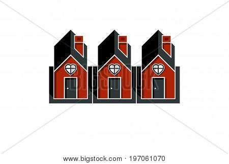Simple cottages with heart symbo love and romance idea. Houses vector illustration.