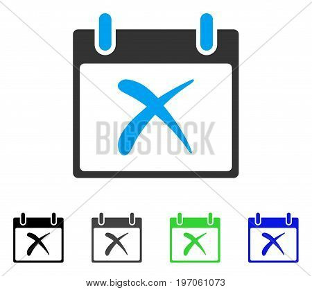 Reject Calendar Day flat vector illustration. Colored reject calendar day gray, black, blue, green pictogram variants. Flat icon style for application design.