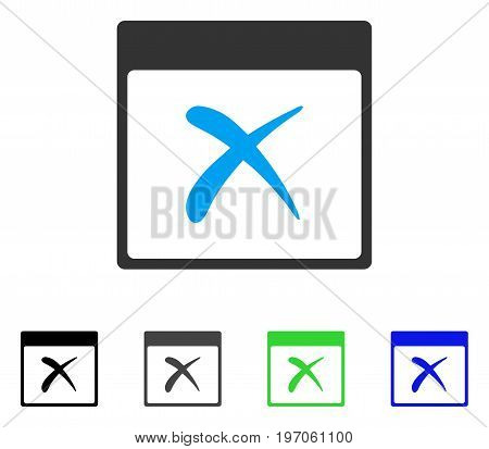 Reject Calendar Page flat vector illustration. Colored reject calendar page gray, black, blue, green pictogram versions. Flat icon style for graphic design.