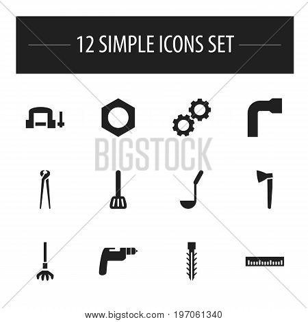 Set Of 12 Editable Tools Icons. Includes Symbols Such As Wheel Wrench, Internal Screw, Hatchet And More