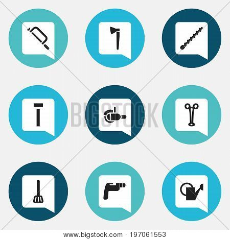 Set Of 9 Editable Instrument Icons. Includes Symbols Such As Bailer, Handsaw, Mincing Machine