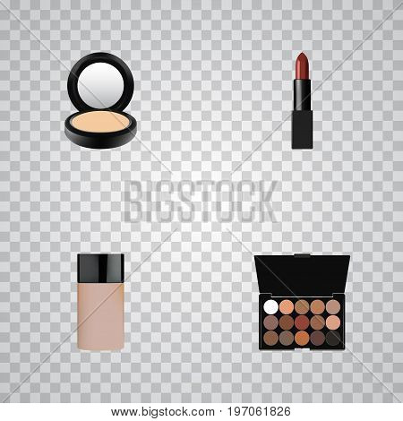 Realistic Pomade, Concealer, Blusher And Other Vector Elements