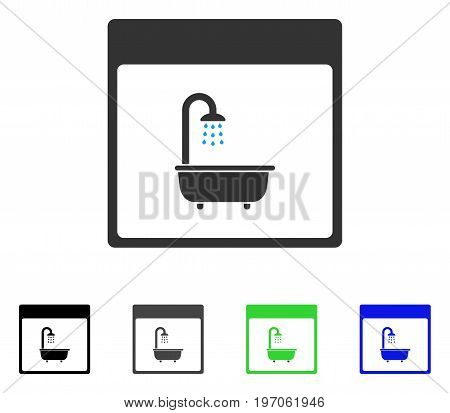 Shower Bath Calendar Page flat vector illustration. Colored shower bath calendar page gray, black, blue, green pictogram versions. Flat icon style for application design.