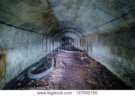 Tunnel of abandoned unfinished soviet bunker in Sevastopol