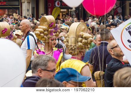 BERLIN GERMANY - JUNE 27 2015: Christopher Street Day (CSD). The annual European LGBT celebration and demonstration held in Berlin for the rights of LGBT people and against discrimination and exclusion.
