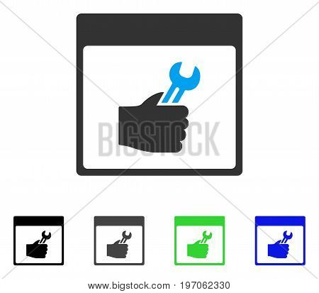 Spanner Service Hand Calendar Page flat vector pictograph. Colored spanner service hand calendar page gray, black, blue, green icon variants. Flat icon style for web design.