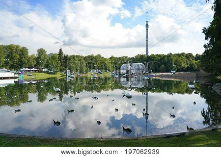 Moscow, Russia, 23 july 2017: Ostankino Park. flying fish above the water. pond