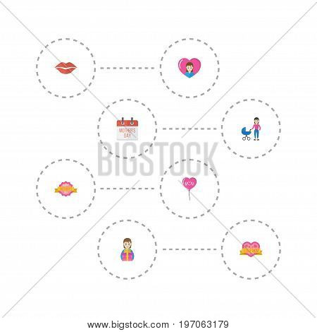 Happy Mother's Day Flat Icon Layout Design With Design, Stroller And Heart Symbols