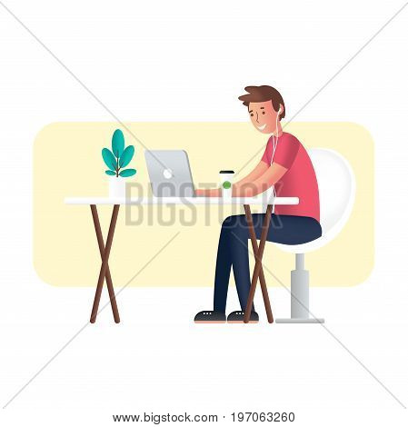Working with laptop. Cartoon character in semi flat design. Flat 2.0 style color modern vector illustration.