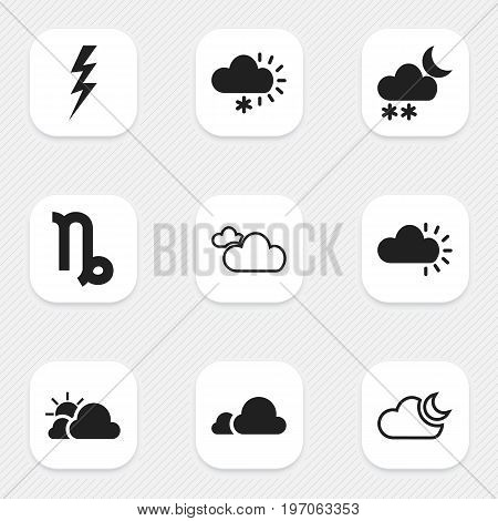 Set Of 9 Editable Weather Icons. Includes Symbols Such As Celestial, Clouded, Sleet And More