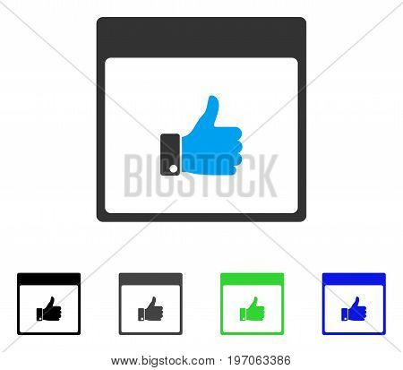 Thumb Up Hand Calendar Page flat vector illustration. Colored thumb up hand calendar page gray, black, blue, green icon variants. Flat icon style for application design.