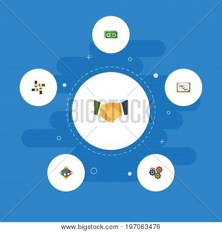 Flat Icons Cash, Gear, Discussion And Other Vector Elements